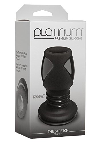 Doc Johnson Platinum Premium Silicone - The Stretch - Hollow Butt Plug - Medium - Black
