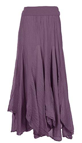 Ladies Handkerchief Size Asymmetric Long Boho One Texture Maxi Aubergine Womens Italian Panel Skirt Silk Lagenlook Hem danwBCYq