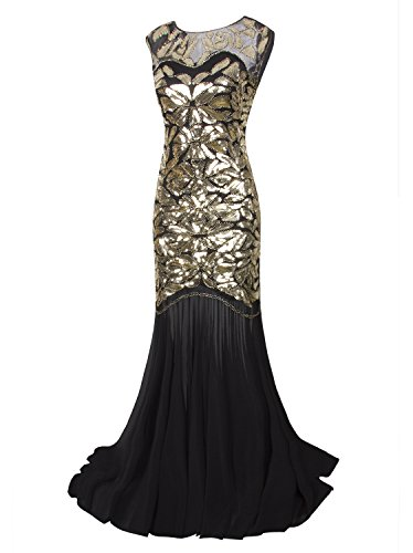 Vijiv 1920s Long Prom Dresses Sequins Beaded Art Deco Evening Party V Neck Back, Black Gold, X-Small,Black Gold,X-Small