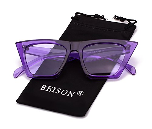 Beison Mens Womens Square Mod Fashion Sunglasses Tinted Lens (Purple frame / Purple lens, - Glasses Tinted Purple