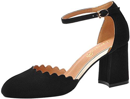 T&Mates Womens Fashion Retro Close Toe Ankle Strap Chunky Heel Cutout Dress Solid Pump Shoes (7.5 B(M)US,Black)