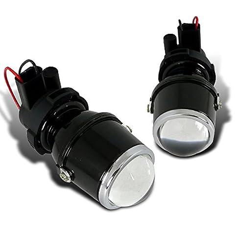 Spec-D Tuning LFP-RND3-WQ H3 12V 55W Halogen Bulb Glass Lens Metal Housing Projector Fog Lights (Mustang Door Projector Lights)