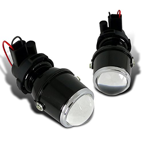 Spec-D Tuning LFP-RND3-WQ H3 12V 55W Halogen Bulb Glass Lens Metal Housing Projector Fog Lights Pair