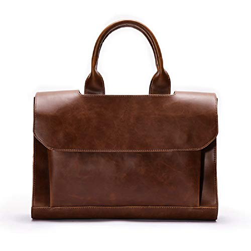 Laptop Business Vintage Shoulder New Bag color Messenger Handbag Leisure Hhgold Brown Briefcase Leather Men's Solid Brown Color Simple 6wUUqHfv