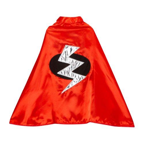 Red Satin Superhero Lightning Bolt Cape