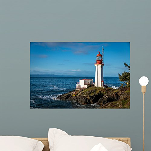 Wallmonkeys WM361673 Sheringham Lighthouse on Vancouver Island British Columbia Canada on a Beautiful Spring Morning Wall Decal Peel and Stick Graphic (24 in W x 16 in (Landmark Kitchen Island)