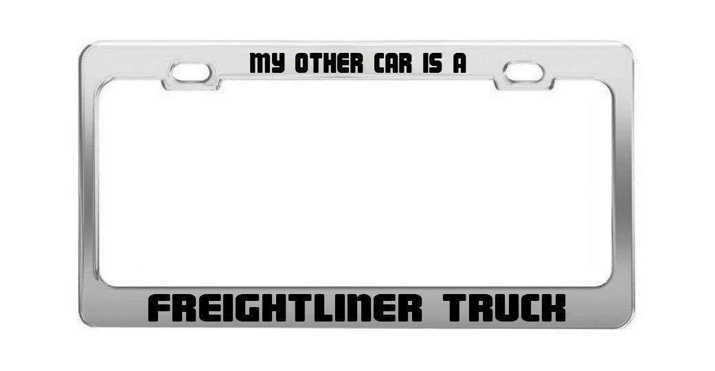 Freightliner Black Metal Car Pickup Truck RV License Plate Tag Frame Holder