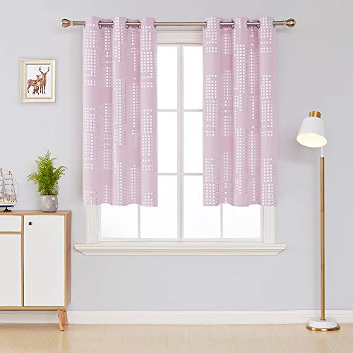 (Deconovo Thermal Insulated Blackout Curtains for Kids Bedroom Room Darkening Draperies Grommet Window Treatment Panels for Nursery, 38x54 Inch, Light Pink)