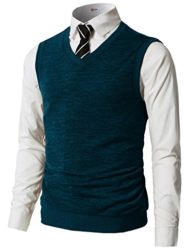 H2H Mens Slim Fit Casual V-Neck Knit Vest Green US 2XL/Asia 3XL (CMOV042)