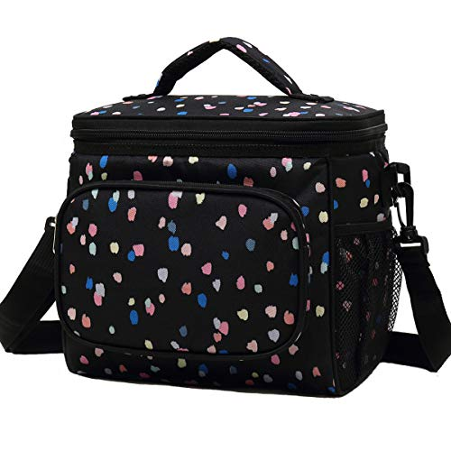 FlowFly Insulated Reusable Lunch Bag Adult Large Lunch Box for Women and Men with Adjustable Shoulder Strap,Front Zipper Pocket and Dual Large Mesh Side Pockets, Flower
