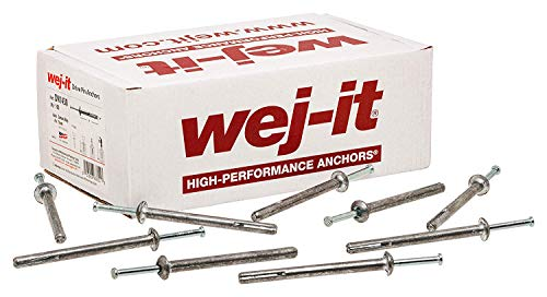 """Wej-It Nail-It DN1412 Drive Anchor, Zamac Alloy, Zinc Plated Finish, Meets GSA FFS-325 Group V Type 2 Class 2 Specifications, 1/4"""" Diameter, 1-1/2"""" Length (Pack Of 100)"""