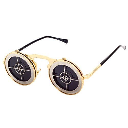 Shades personnalit¨¦ Clamshell Homme Vintage Punk Tir en ronde C14 Lunettes Gothic Femme hibote Steam Sunglasses m¨¦tal x1XWOq
