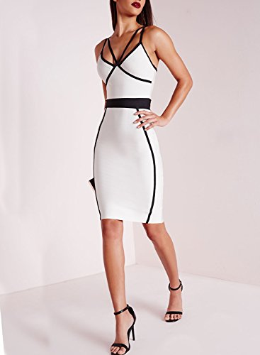 Azbro Mujer Vestido Ajustado de Lápiz Tirantes Espaguetis, Blanco XXL