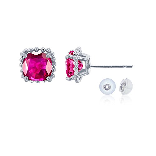 10K White Gold 6x6mm Cushion Cut Created Ruby Bead Frame Stud Earring with Silicone Back Carats Ruby Sapphire Beads