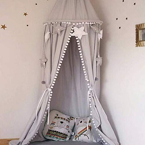 Wonder Space Handmade Cotton Canvas Pompon Kids Bed Canopy Mosquito Net, Indoor Round Dome Hanging Play Tent Curtain, Ideal Baby Toddlers Tots Crib, Reading Nook & House Decoration (Grey)