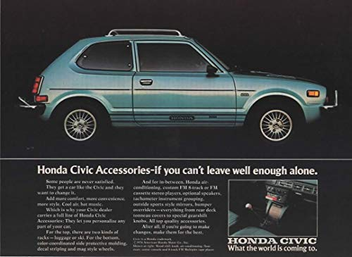 Magazine Print Ad: 1976 Honda Civic CVCC 5 speed Hatchback,