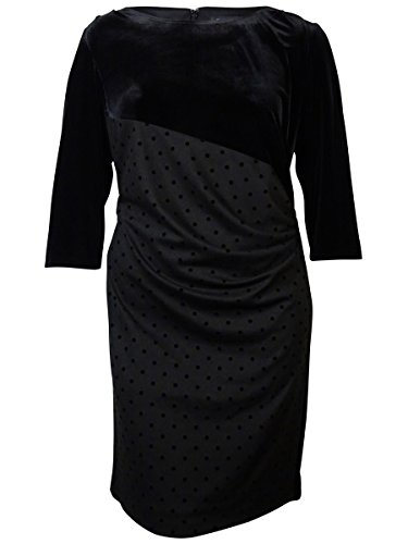 Tahari Women's Sal Velvet Polka Dot Dress (14W, Black)