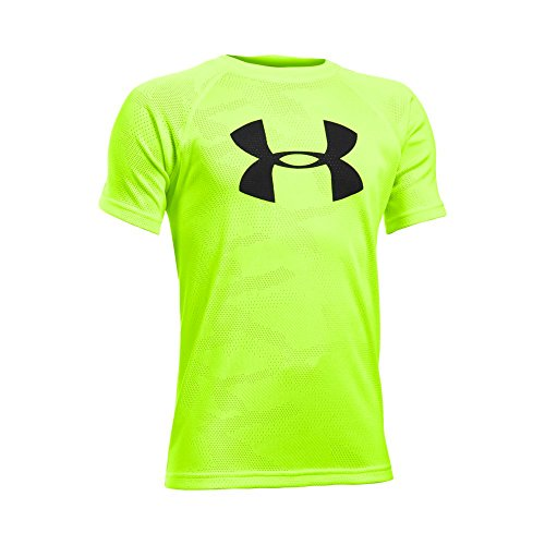 Under Armour Boys' Tech Big Logo Printed Short Sleeve T-Shirt, Fuel Green/Black, Youth X-Large