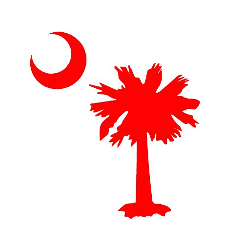 Palmetto Tree Moon SC Flag V1 Vinyl Decal by StickerDad - size: 3.5