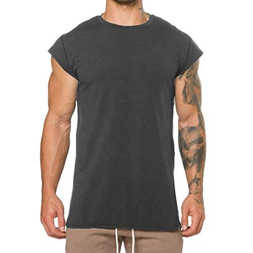 ut Gym Tanks Muscle Shirts Drop Shoulder Tee T-Shirts for Running Jogging T03_Dark-Gray_US-L ()