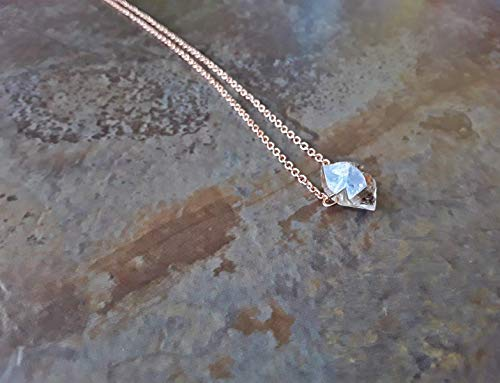 Raw Herkimer Diamond Petite Nugget Minimalist Pendant Necklace Rose Gold