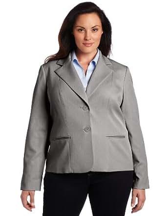 Anne Klein Women's Plus-Size Two Button Blazer, Pale Grey Heather, 14W