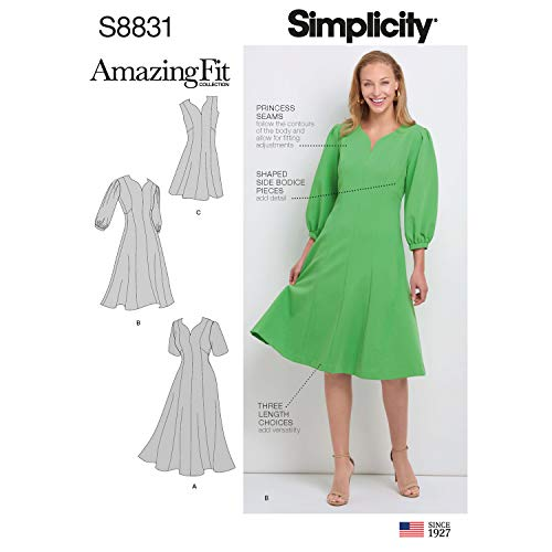 (Simplicity US8831AA Pattern S8831 Misses'/Women's Amazing Fit Dress, AA (10-12-14-16-18))