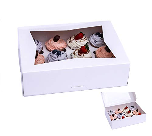 Bakery Cupcake Boxes with Window and Inserts. White Box Displays 12 Cupcakes or Muffins. Used as Professional Pie Box | Cookie Box | Cake Gift Box