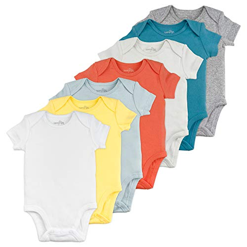 Baby Boy or Baby Girl Bodysuit Set, 7-Pack Short Sleeve Solid Bodysuits, 9 Month ()