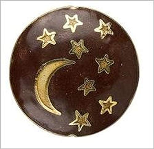 Perfect and Stunning Beads - Cloisonne Crescent Moon and Stars Puffed Flat Round Focal Pendant Bead - Round Beads Cloisonne Flat