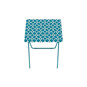 Folding Tray Table 2 Pack TV Dinner Trays Light Snack Accent Tables Teal  Portable Lightweight Metal Turquoise Eating Bundle Includes One Package Of  Scented ...