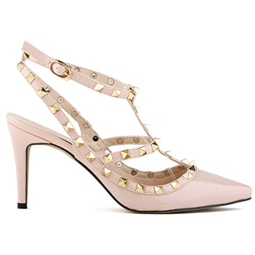 Beinfaith Womens Fashion Leather High-Heeled Strappy Sandals US Size 7.5 Beige