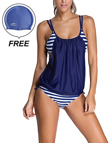 Golf Teddies (Woman's Striped Double Up Top Padded Tankini 2 Pieces Swimsuit by Lifeisbest(XXL(18-20)-3#))