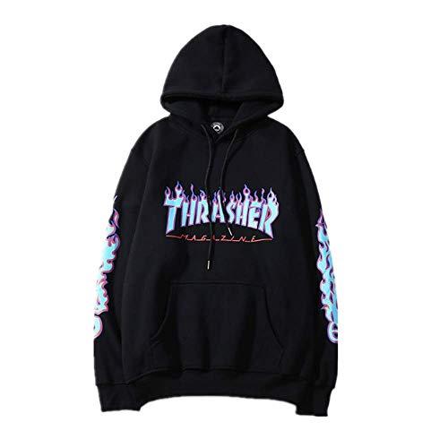- Fashion Flame Print Plus Velvet Pullover Hoodie for Men/Women Black