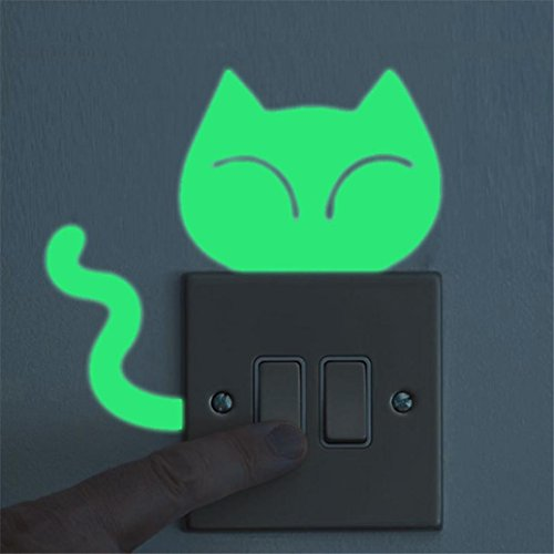 Luminous Noctilucent Glow Switch Sticker,Cute Cat Creative Waterproof Home Decor (Cat Embossed Sticker)