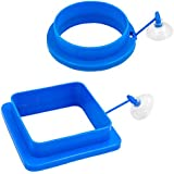 Fish Feeding Ring Aquarium Fish Safe Floating Food Feeder Maintains Water Quality Circle Square and Round with Suction Cup,2 Pack Improved for Smaller to Larger Food