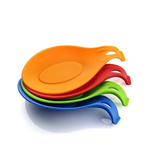 EWEI'S HomeWares Premium Silicone Spoon Rest Set - 4 Pieces Jumbo Spoon Rest Set With Varying Bright Jelly Colors - Soft & Unbreakable, Heat Resistant & Odor Resistant - Use for Resting Kitchen Utensil, Spoon, Spatula, Brush, Cutlery And So On(4, red/orange/blue/green