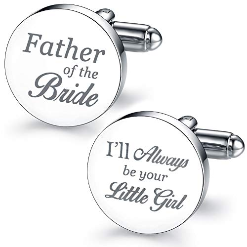 (BodyJ4You 2PC Cufflinks Engraved Father Bride Daughter Wedding Formal Button Shirt Gift Box Set)