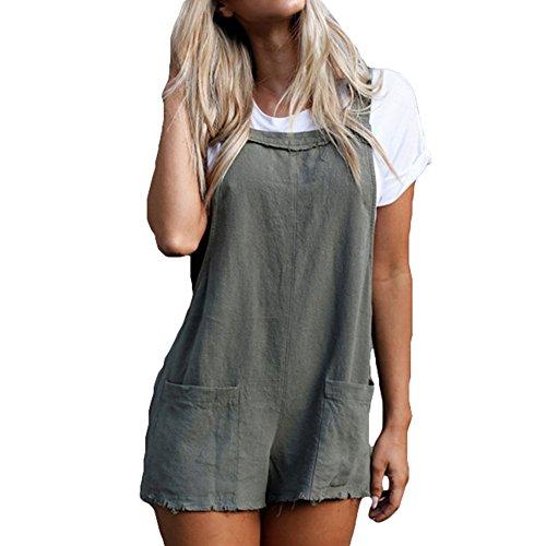 Damen Sommer Latzhose, Mode Gurt Insgesamt mit Taschen Casual Baumwolle Kurze Hose Jumpsuits Playsuit Overalls Grau