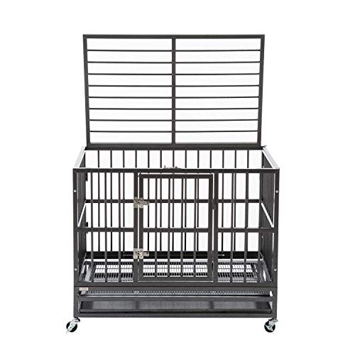 """Sliverylake XL 37"""" Dog Cage Crate Kennel - Heavy Duty Double Door Pet Cage w/Metal Tray Wheels Exercise Playpen (37"""", Sliver)"""