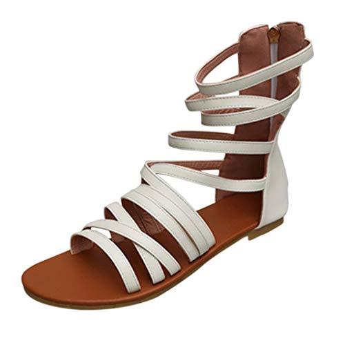 Tantisy ♣↭♣ Women's Bandage Flat Sandals/Crisscross Strap Wrap Dress Sandals/Zipper/Summer Casual Platfrom Shoes White