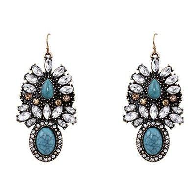 Resin Turquoise Earrings (usongs New alloy plated earring resin earring texture turquoise gemstone jewelry trade retro Western earrings)