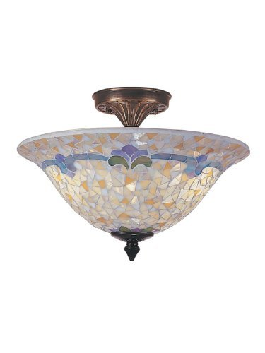 Dale Tiffany TM100553 Johana Mosaic Flush Mount Light, Antique Brass and Art Glass Shade ()