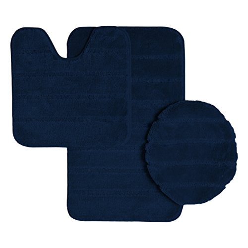 Ribbed Design Soft Pile Solid Color 3 Piece Bathroom Rug Set, Bath Mat, Contour Rug, Universal Lid Cover, Louise (Navy) ()