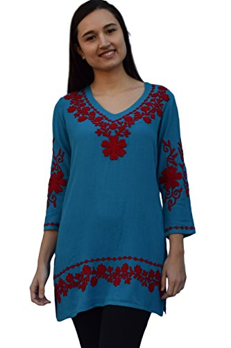 Nia Embroidered Crepe Rayon V Neck Tunic: Red Embroidery on Teal: Sz 2X
