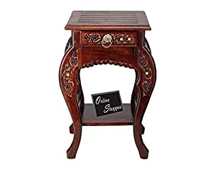 Onlineshoppee hand carved side table (brown)