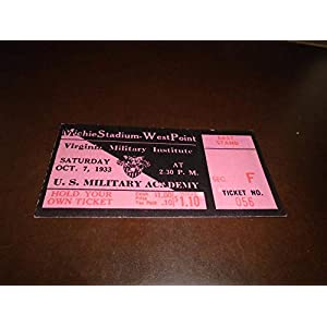 1933 VMI AT ARMY COLLEGE FOOTBALL TICKET STUB EX