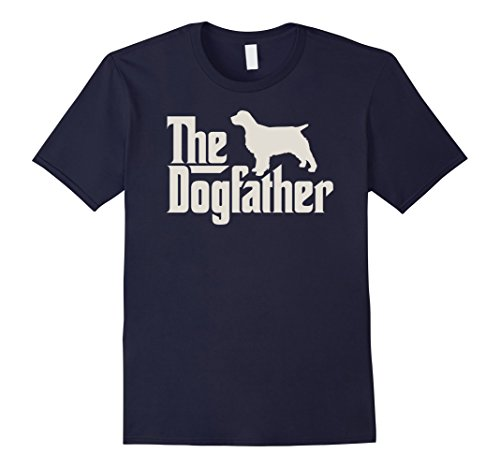 Mens The Dogfather English Springer Spaniel Funny Dog Owner Shirt Large Navy