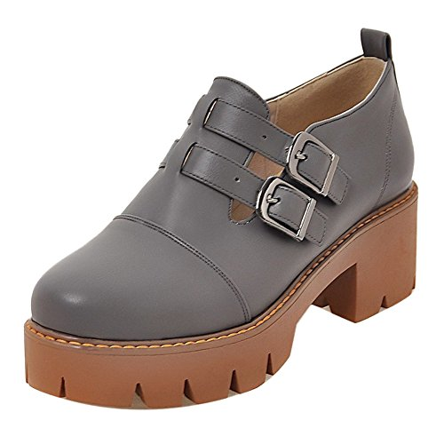 COOLCEPT Zapatos de Tacon Chunky con Hueco Botines Casual para Mujer Grey