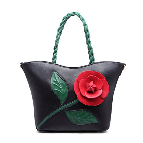 Women Shoulder Bag Purse Tote Handbag Clutch PU Leather Crossbody Flower Weave Handle Bags By Celsino (Flower Backpack Purse)
